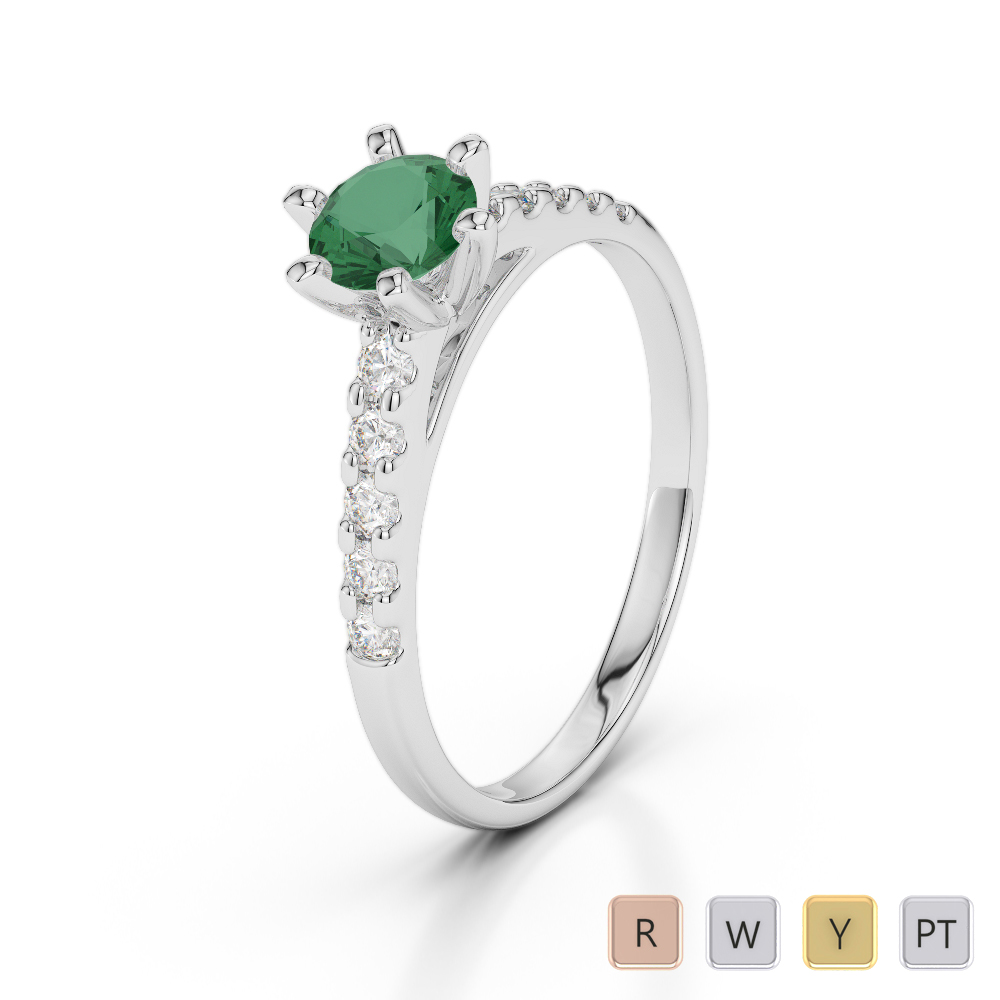 Gold / Platinum Round Cut Emerald and Diamond Engagement Ring AGDR-1180