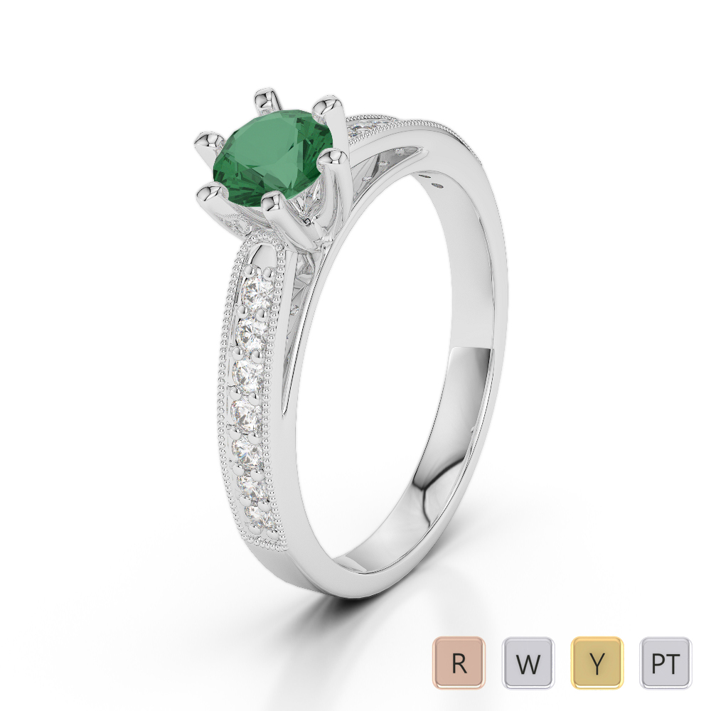 Gold / Platinum Round Cut Emerald and Diamond Engagement Ring AGDR-1181