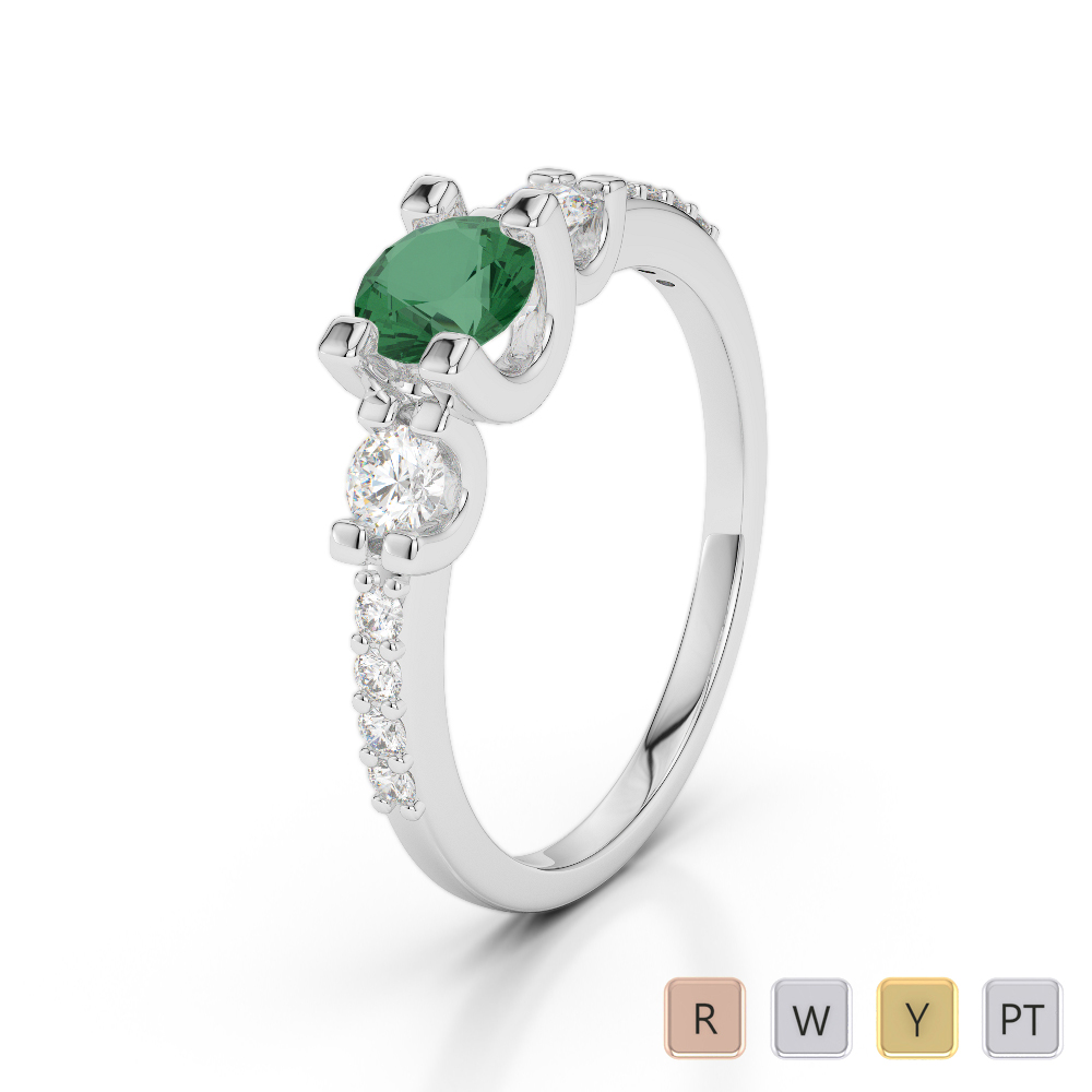 Gold / Platinum Round Cut Emerald and Diamond Engagement Ring AGDR-1182
