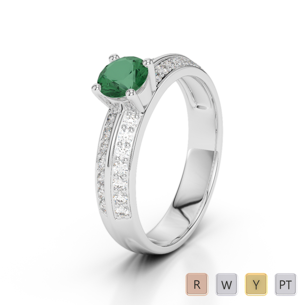 Gold / Platinum Round Cut Emerald and Diamond Engagement Ring AGDR-1183