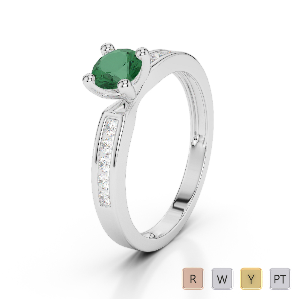 Gold / Platinum Round Cut Emerald and Diamond Engagement Ring AGDR-1184