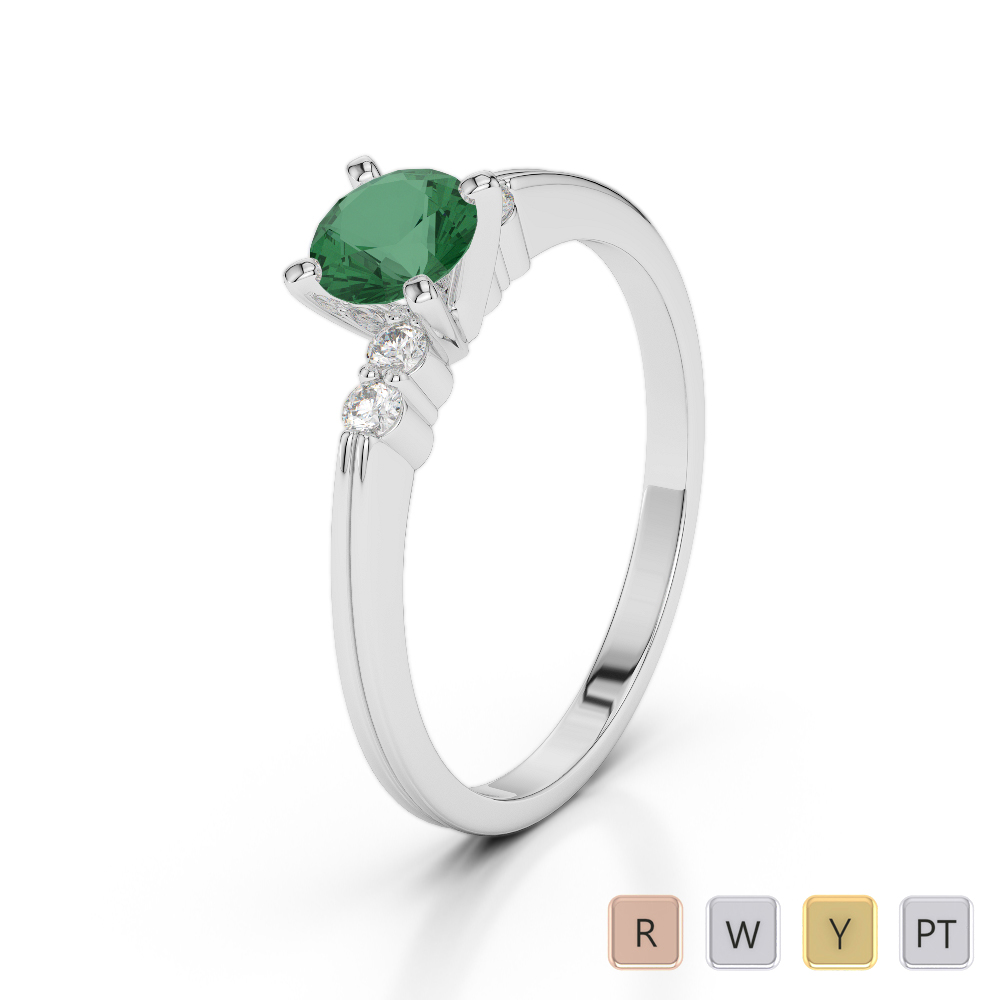 Gold / Platinum Round Cut Emerald and Diamond Engagement Ring AGDR-1185