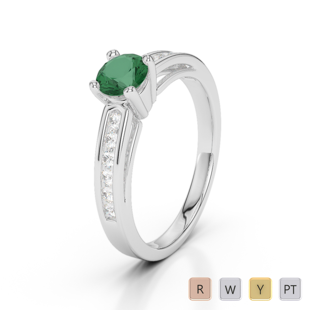 Gold / Platinum Round Cut Emerald and Diamond Engagement Ring AGDR-1186