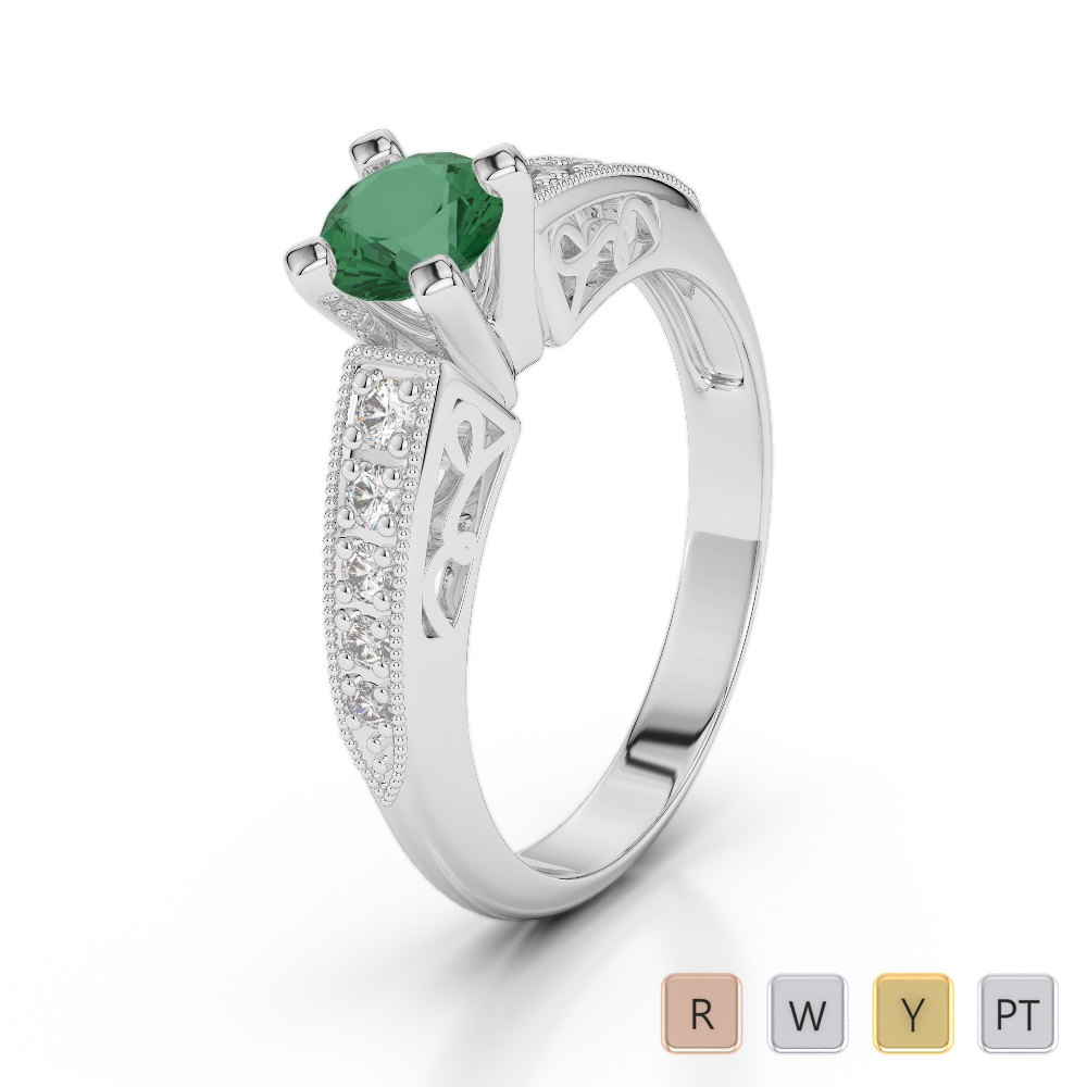 Gold / Platinum Round Cut Emerald and Diamond Engagement Ring AGDR-1187