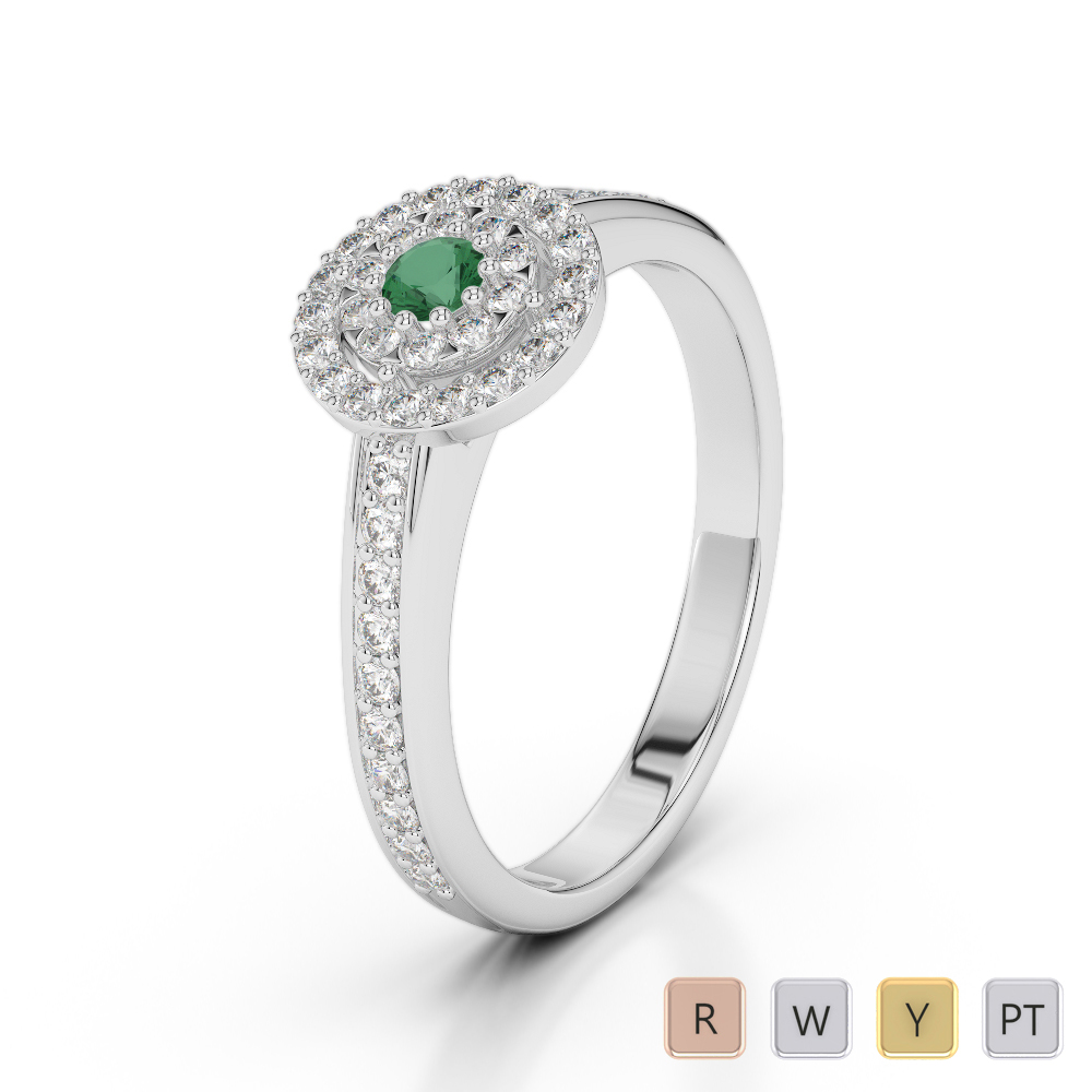 Gold / Platinum Round Cut Emerald and Diamond Engagement Ring AGDR-1188