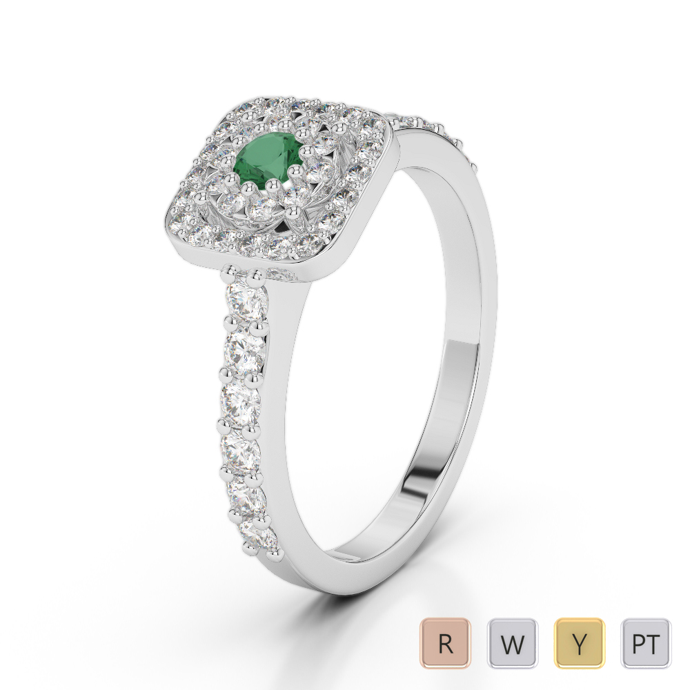 Gold / Platinum Round Cut Emerald and Diamond Engagement Ring AGDR-1189