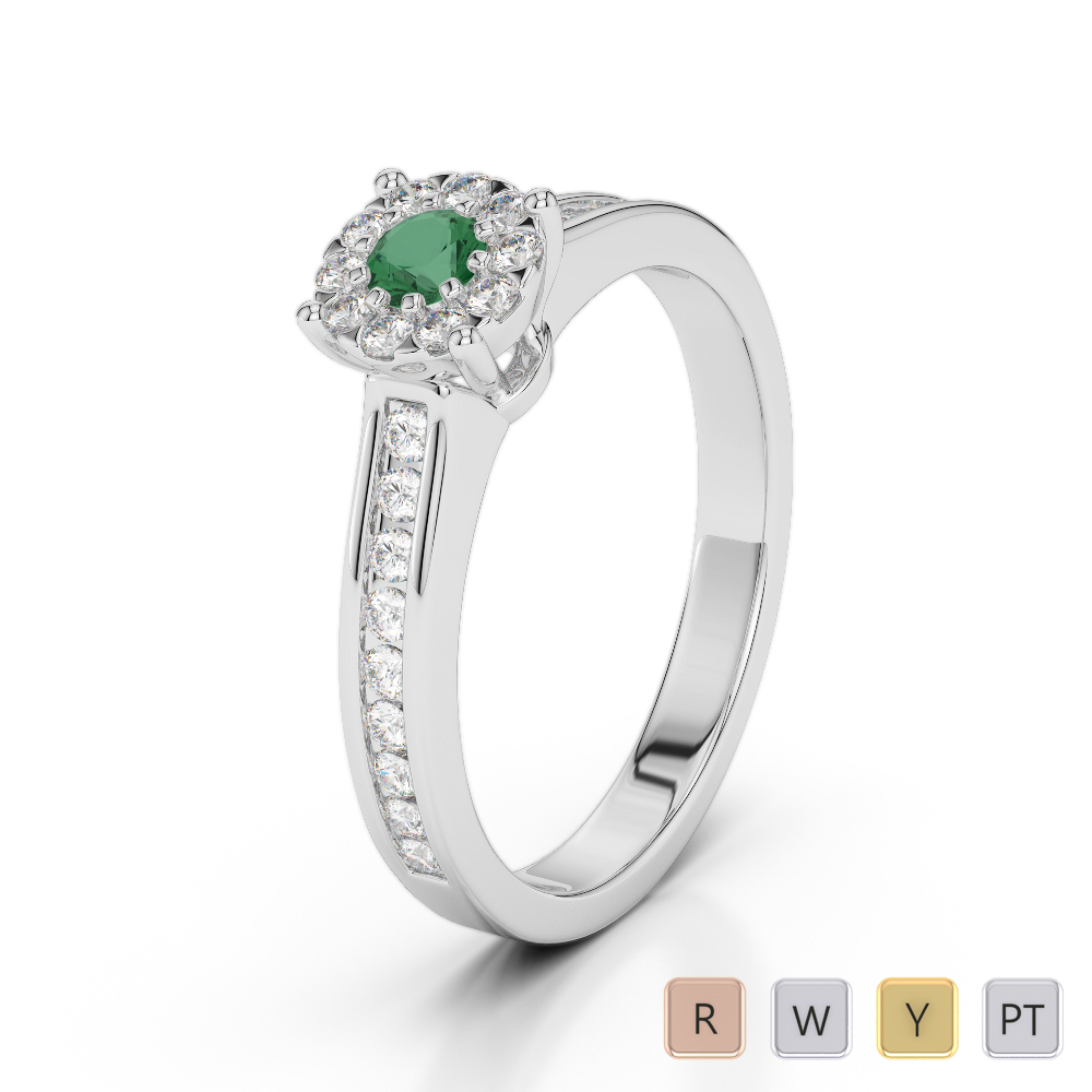 Gold / Platinum Round Cut Emerald and Diamond Engagement Ring AGDR-1190