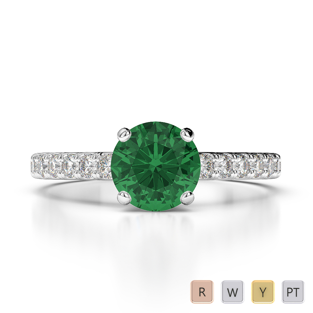Gold / Platinum Round Cut Emerald and Diamond Engagement Ring AGDR-1201