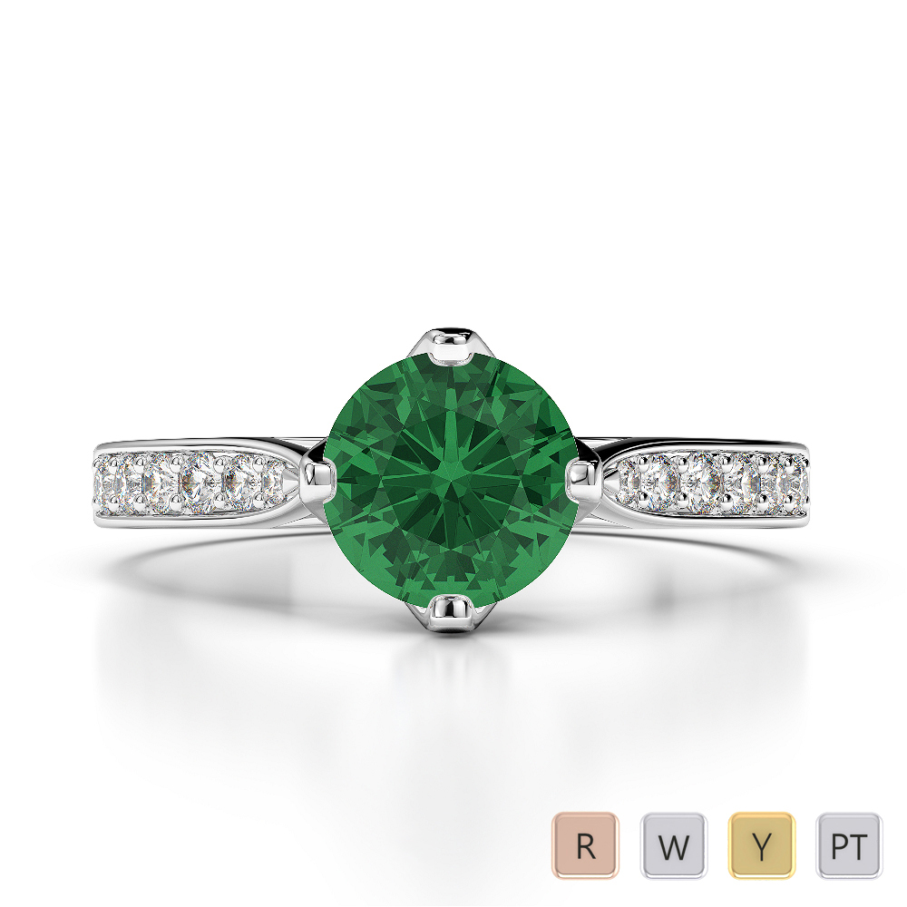 Gold / Platinum Round Cut Emerald and Diamond Engagement Ring AGDR-1204
