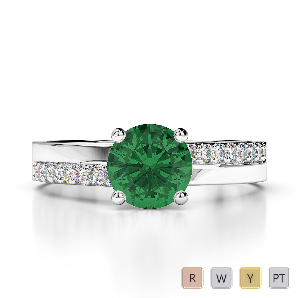 Gold / Platinum Round Cut Emerald and Diamond Engagement Ring AGDR-1206
