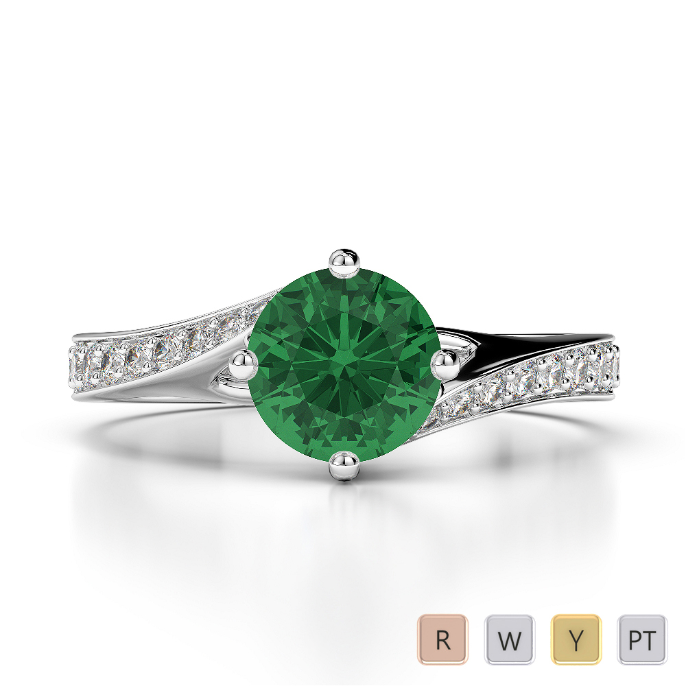 Gold / Platinum Round Cut Emerald and Diamond Engagement Ring AGDR-1207