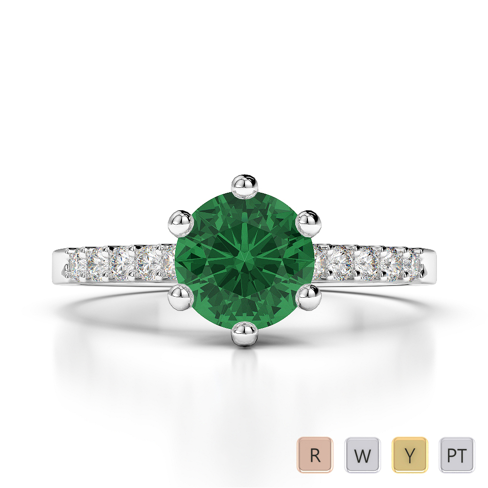 Gold / Platinum Round Cut Emerald and Diamond Engagement Ring AGDR-1208