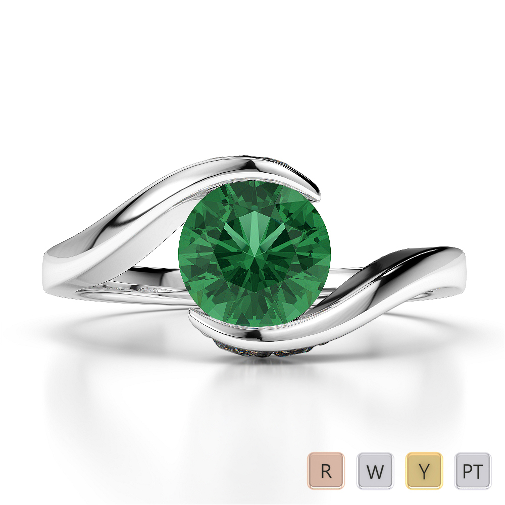 Gold / Platinum Round Cut Emerald and Diamond Engagement Ring AGDR-1209