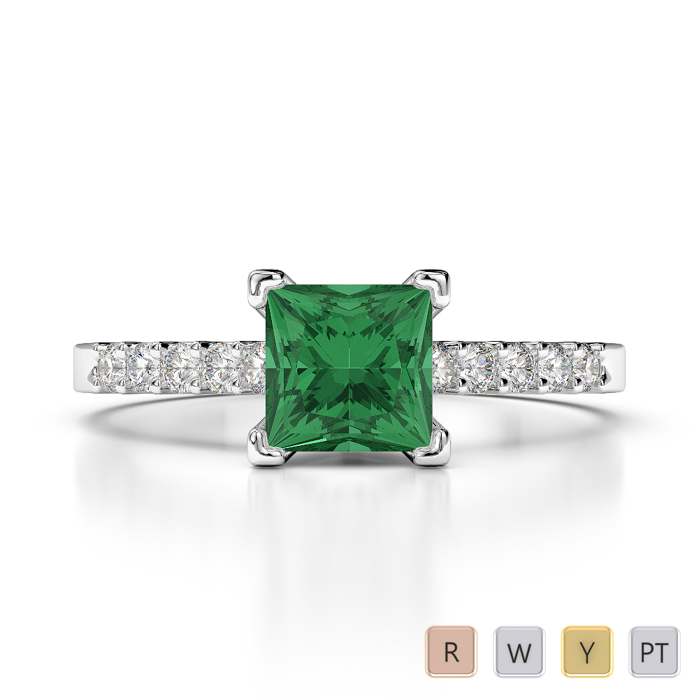 Gold / Platinum Round and Princess Cut Emerald and Diamond Engagement Ring AGDR-1210