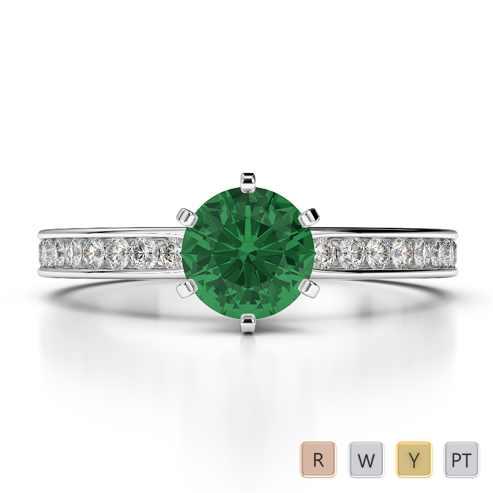Gold / Platinum Round Cut Emerald and Diamond Engagement Ring AGDR-1214