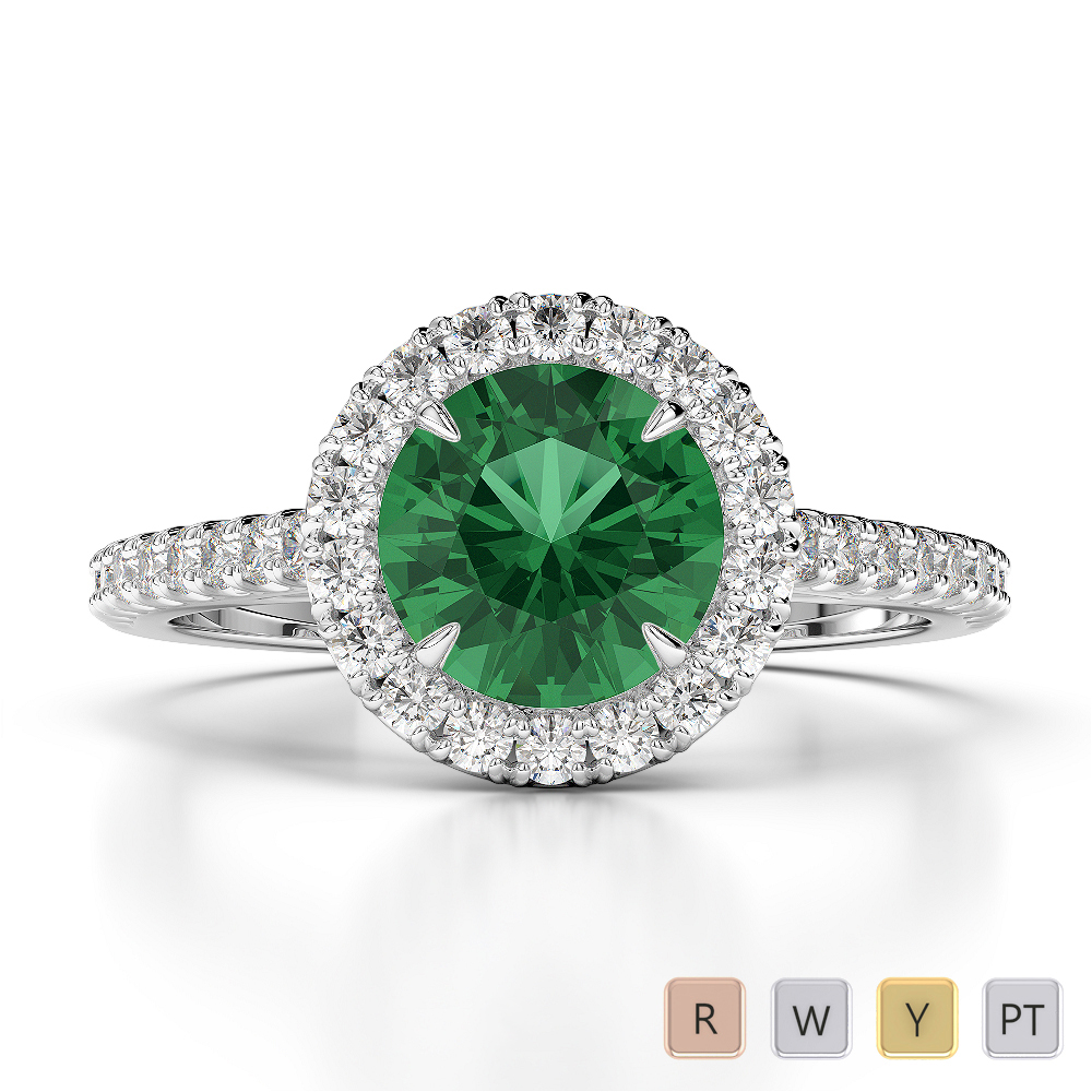 Gold / Platinum Round Cut Emerald and Diamond Engagement Ring AGDR-1215