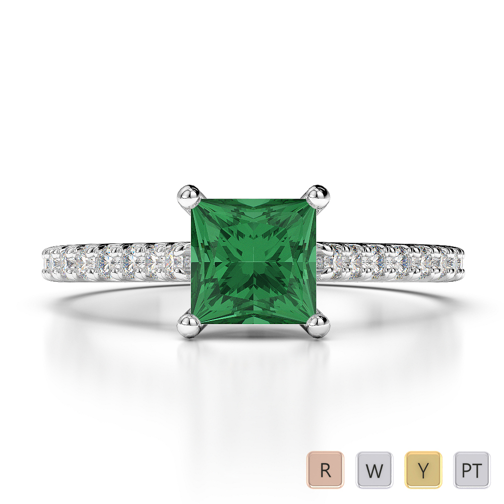 Gold / Platinum Round and Princess Cut Emerald and Diamond Engagement Ring AGDR-1217