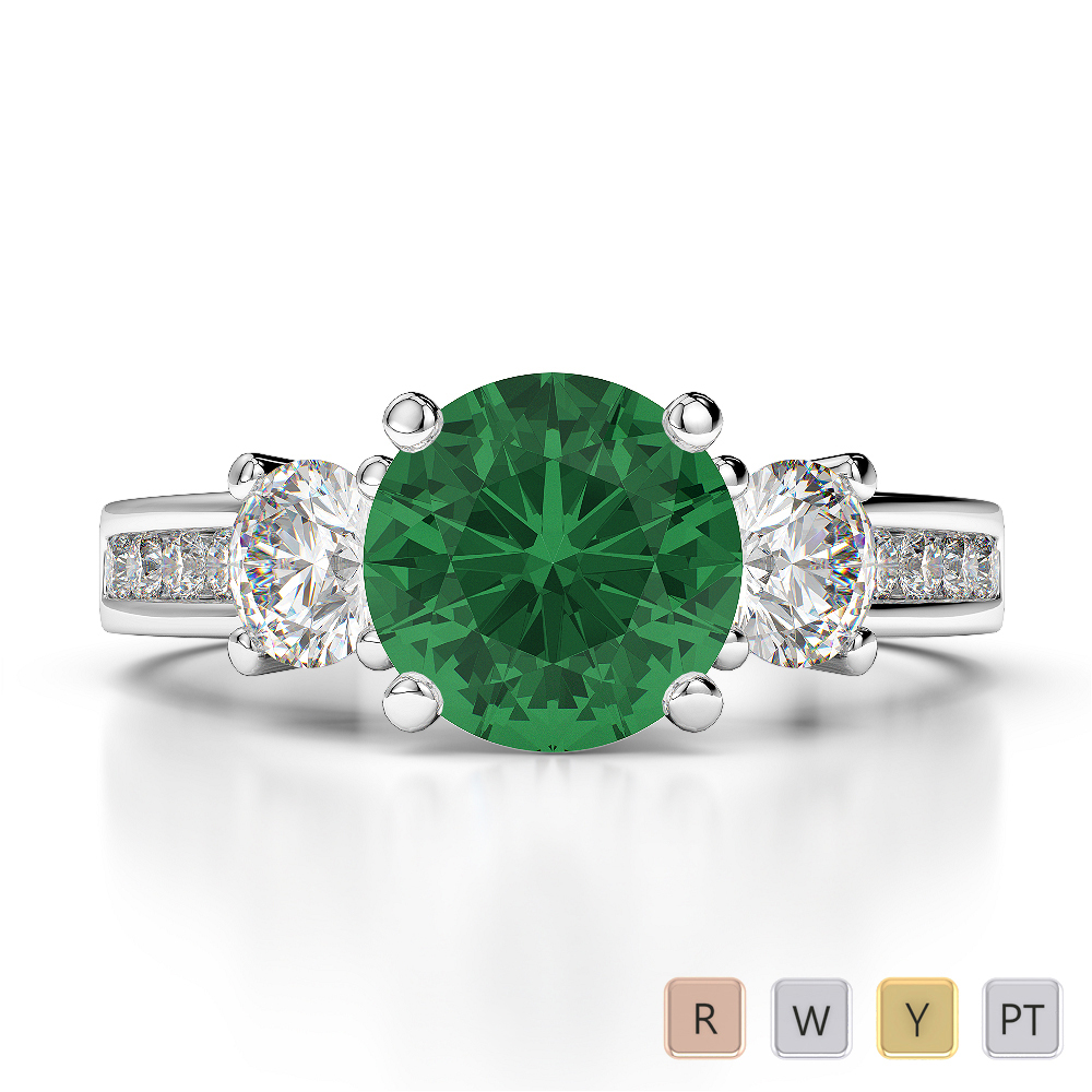 Gold / Platinum Round Cut Emerald and Diamond Engagement Ring AGDR-1218