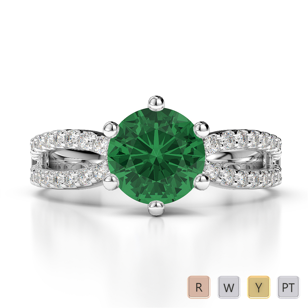 Gold / Platinum Round Cut Emerald and Diamond Engagement Ring AGDR-1223