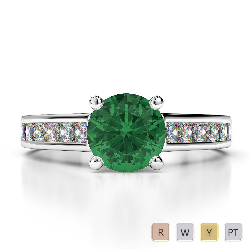 Gold / Platinum Round and Princess Cut Emerald and Diamond Engagement Ring AGDR-1224