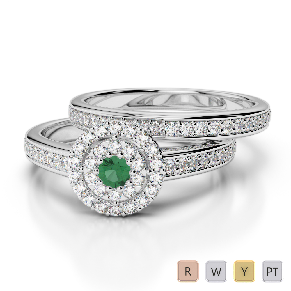 Gold / Platinum Round cut Emerald and Diamond Bridal Set Ring AGDR-1239