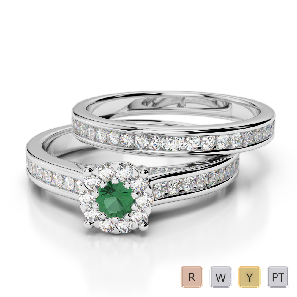 Gold / Platinum Round cut Emerald and Diamond Bridal Set Ring AGDR-1339