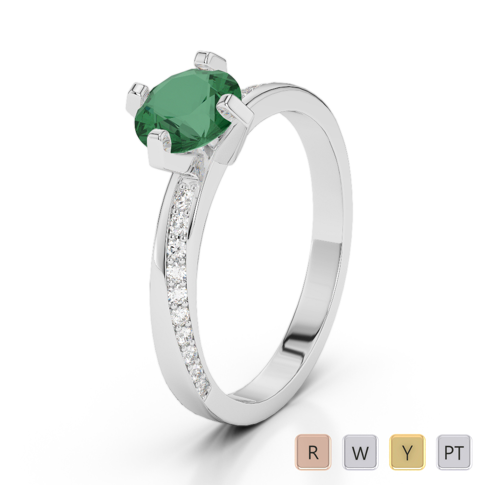 Gold / Platinum Round Cut Emerald and Diamond Engagement Ring AGDR-2002
