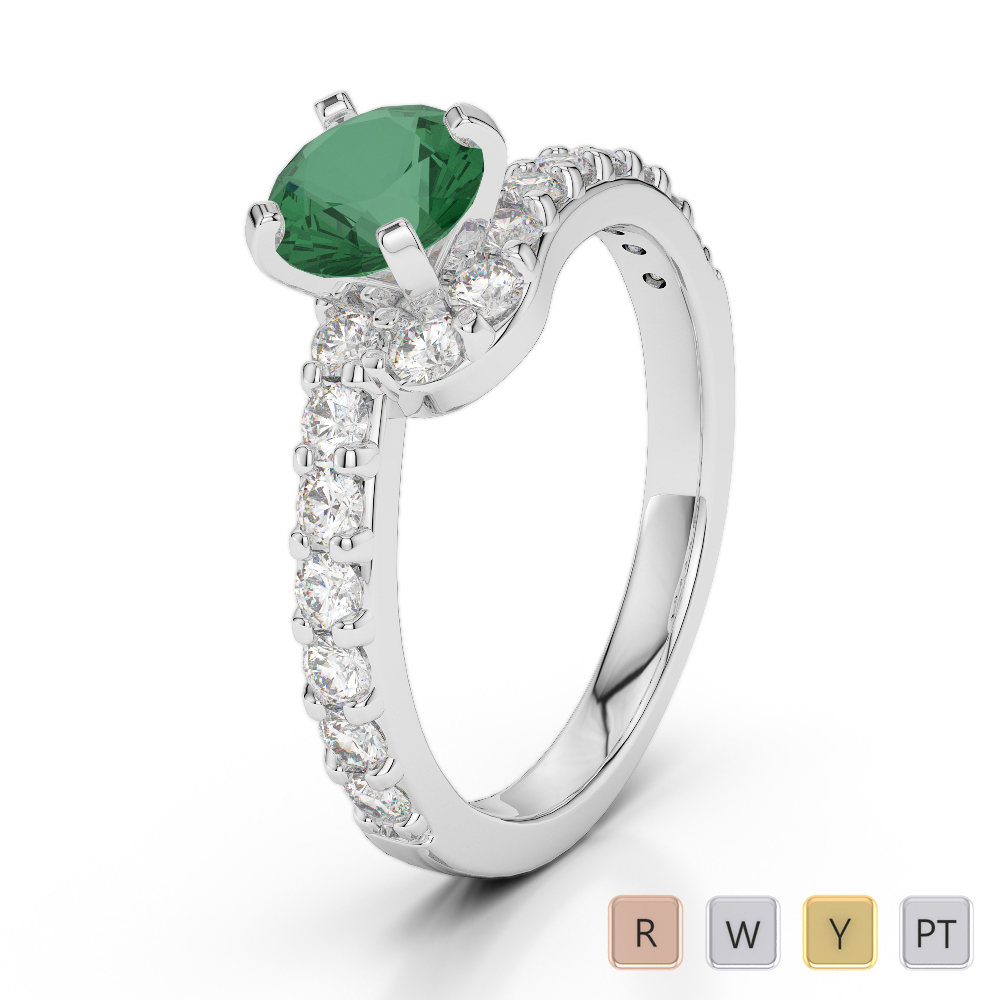 Gold / Platinum Round Cut Emerald and Diamond Engagement Ring AGDR-2004