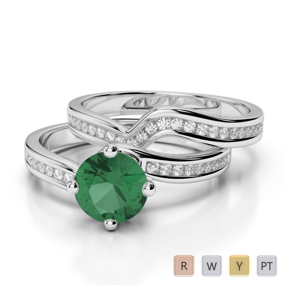 Gold / Platinum Round cut Emerald and Diamond Bridal Set Ring AGDR-2005