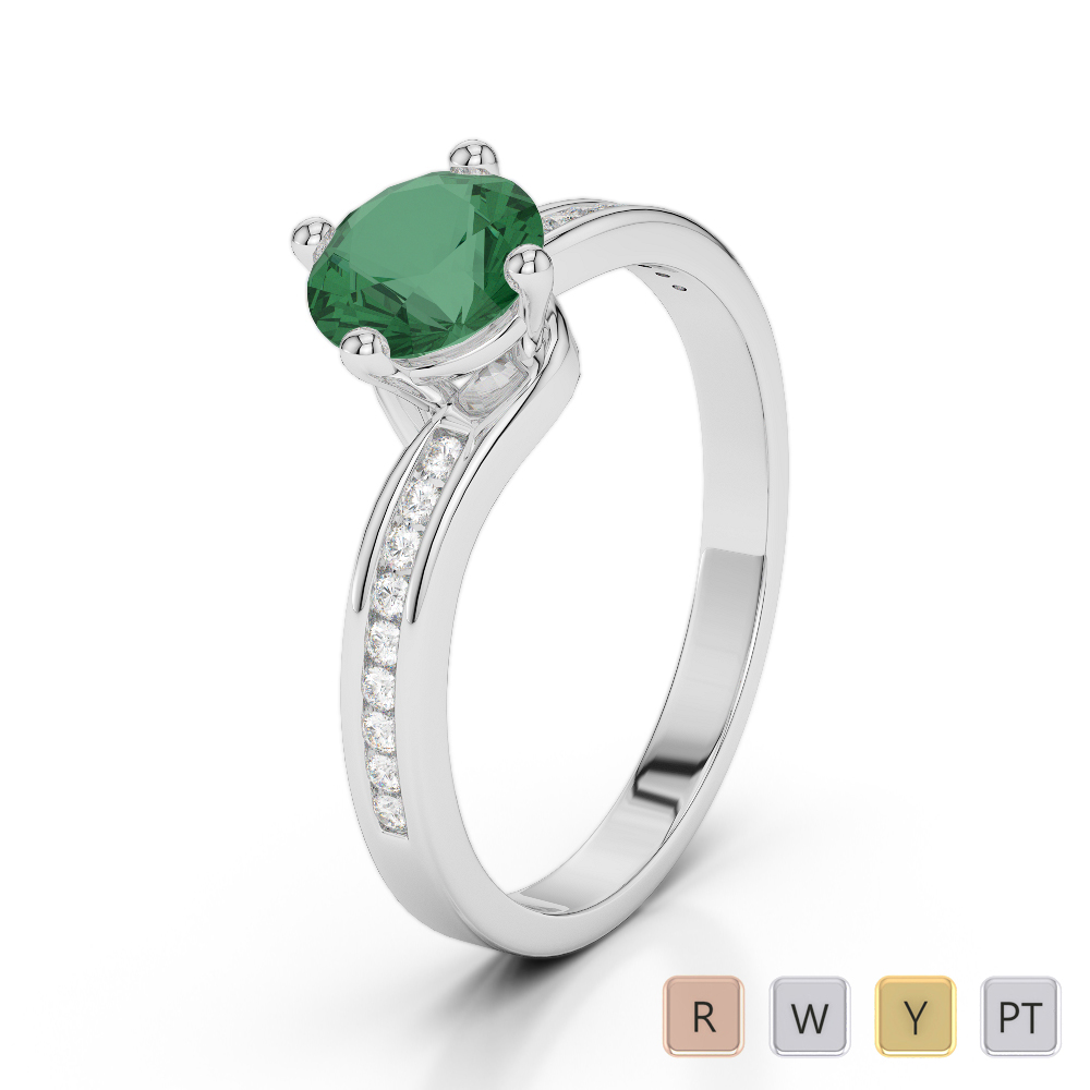 Gold / Platinum Round Cut Emerald and Diamond Engagement Ring AGDR-2006