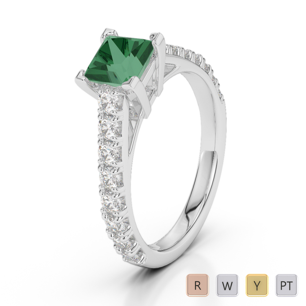 Gold / Platinum Round and Princess Cut Emerald and Diamond Engagement Ring AGDR-2008