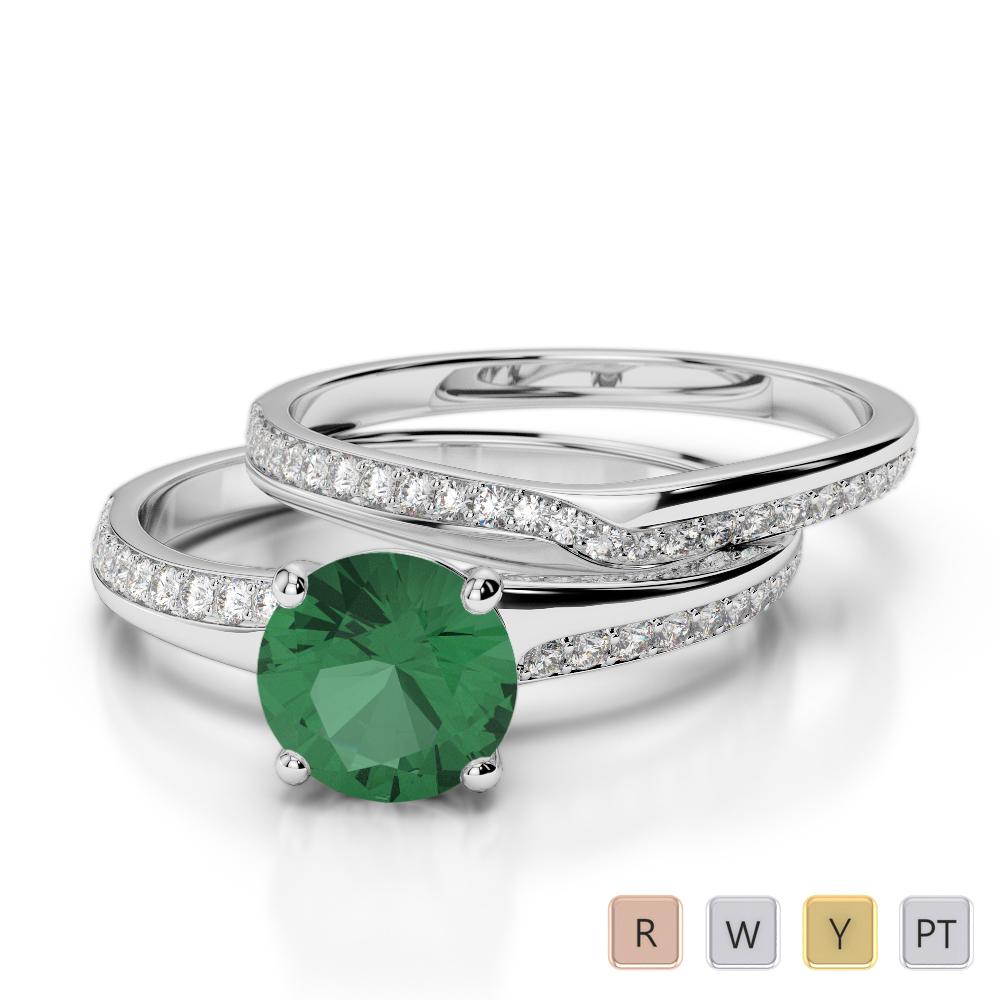 Gold / Platinum Round cut Emerald and Diamond Bridal Set Ring AGDR-2015