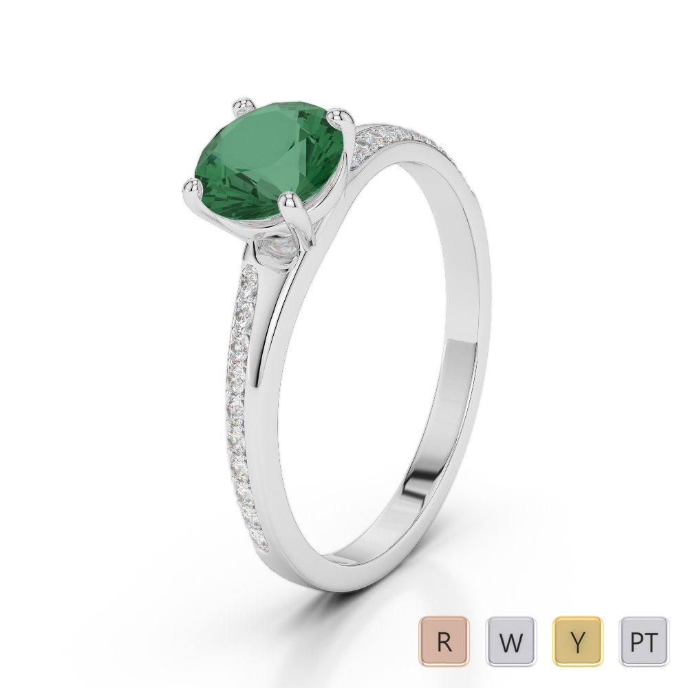 Gold / Platinum Round Cut Emerald and Diamond Engagement Ring AGDR-2016