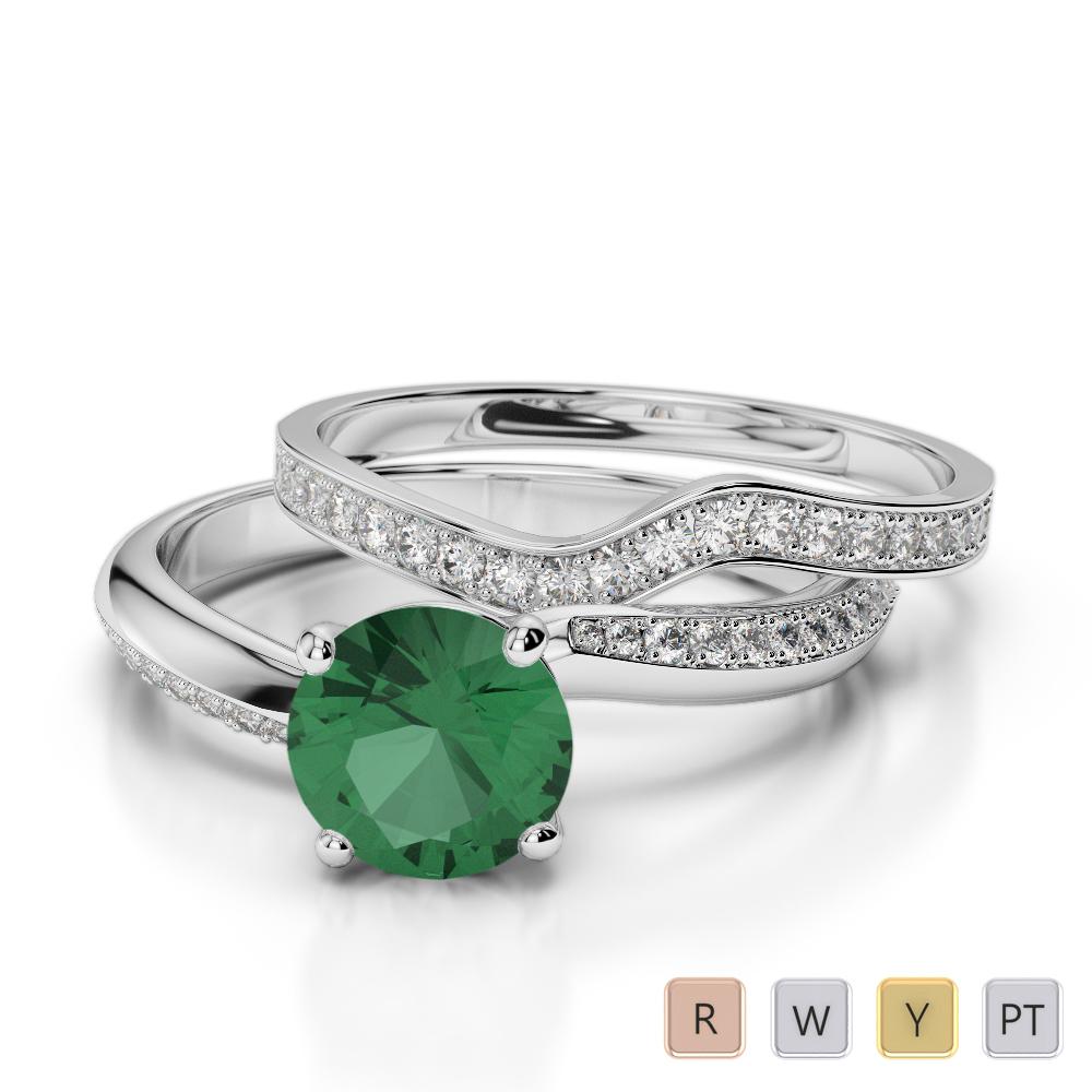 Gold / Platinum Round cut Emerald and Diamond Bridal Set Ring AGDR-2017
