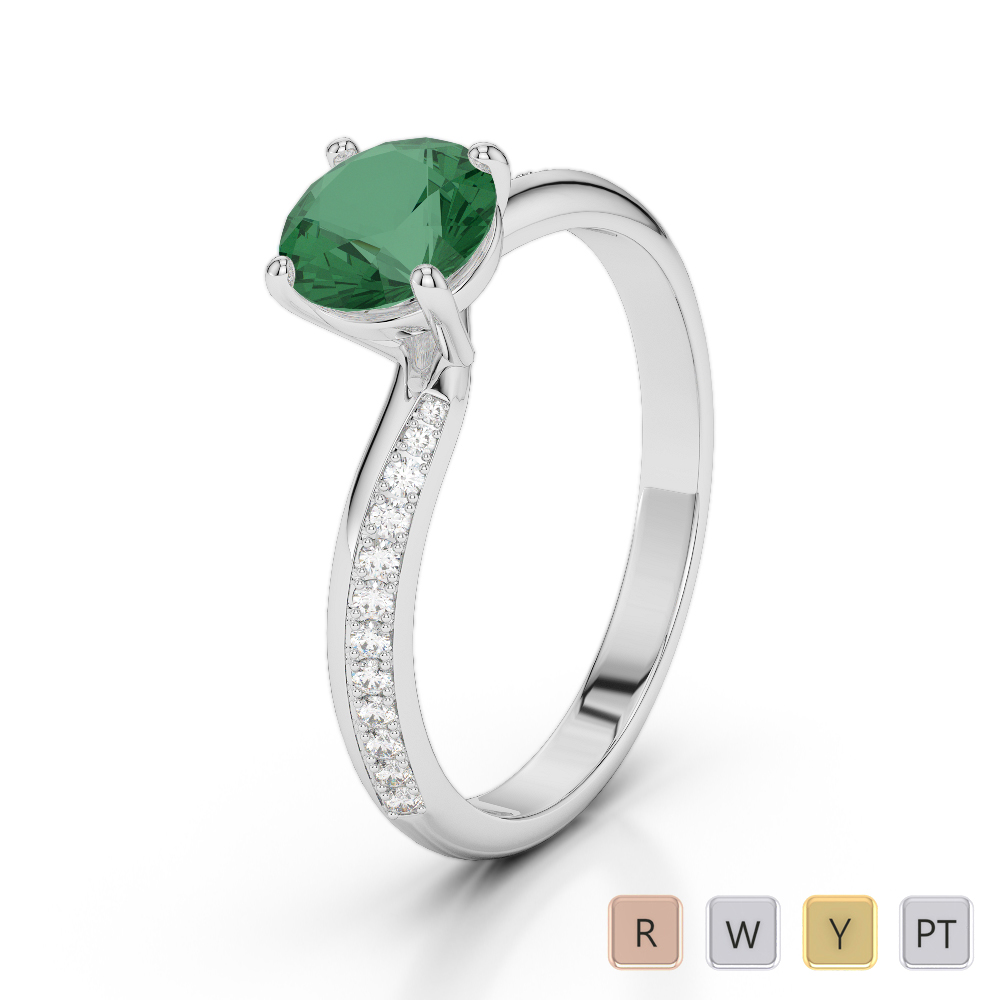 Gold / Platinum Round Cut Emerald and Diamond Engagement Ring AGDR-2018
