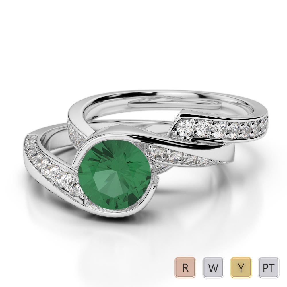 Gold / Platinum Round cut Emerald and Diamond Bridal Set Ring AGDR-2019