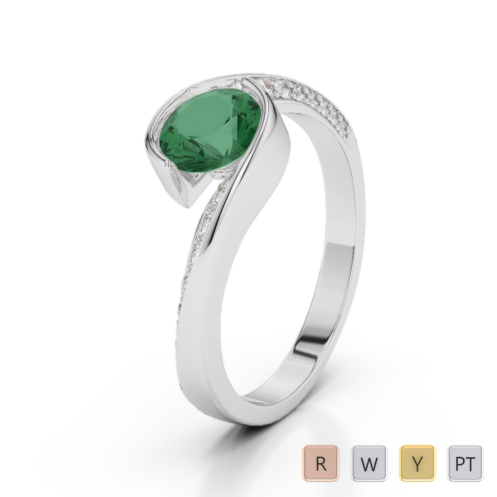 Gold / Platinum Round Cut Emerald and Diamond Engagement Ring AGDR-2020