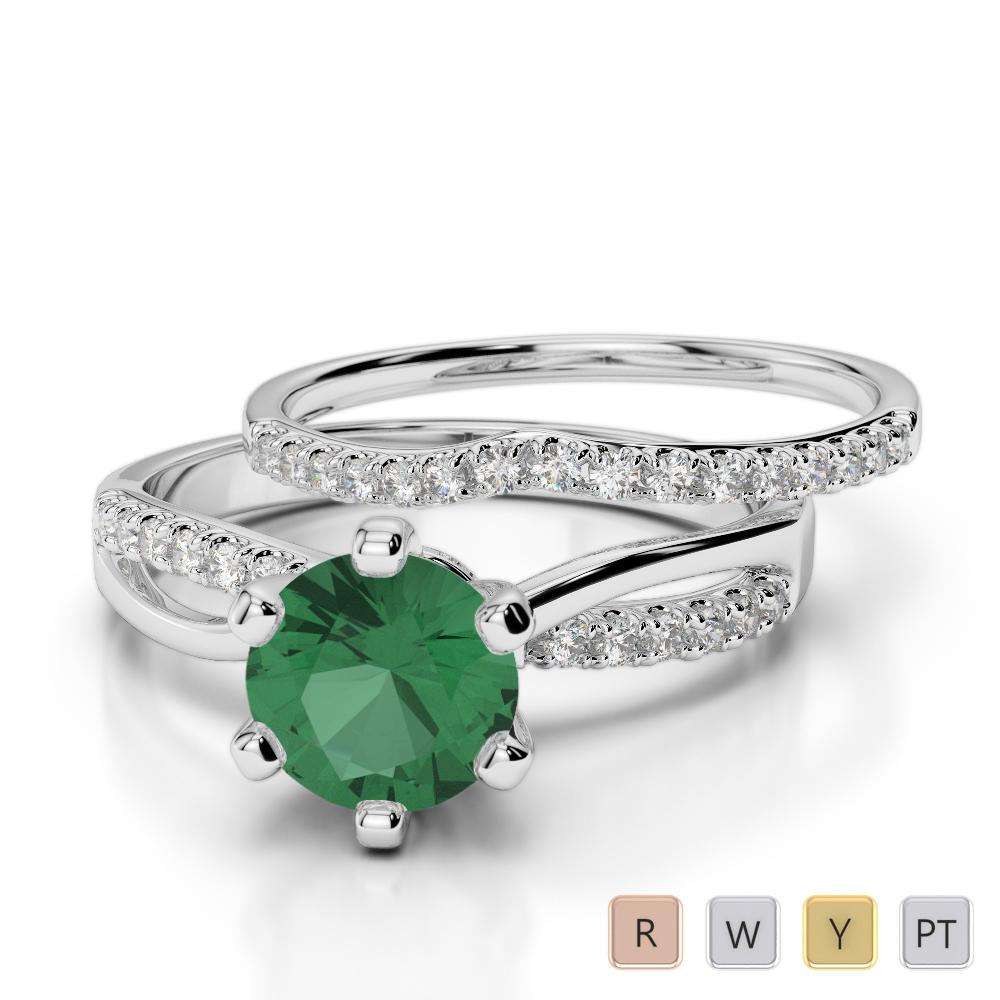 Gold / Platinum Round cut Emerald and Diamond Bridal Set Ring AGDR-2021