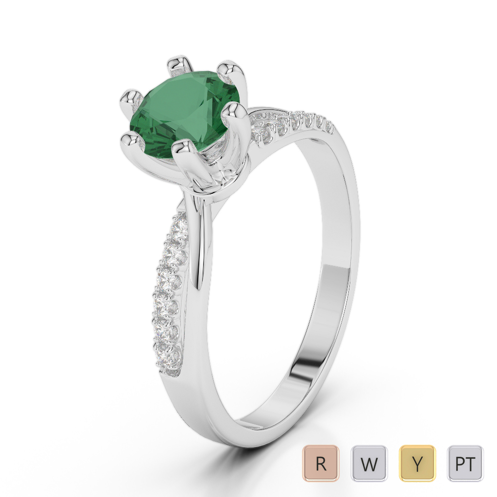 Gold / Platinum Round Cut Emerald and Diamond Engagement Ring AGDR-2022