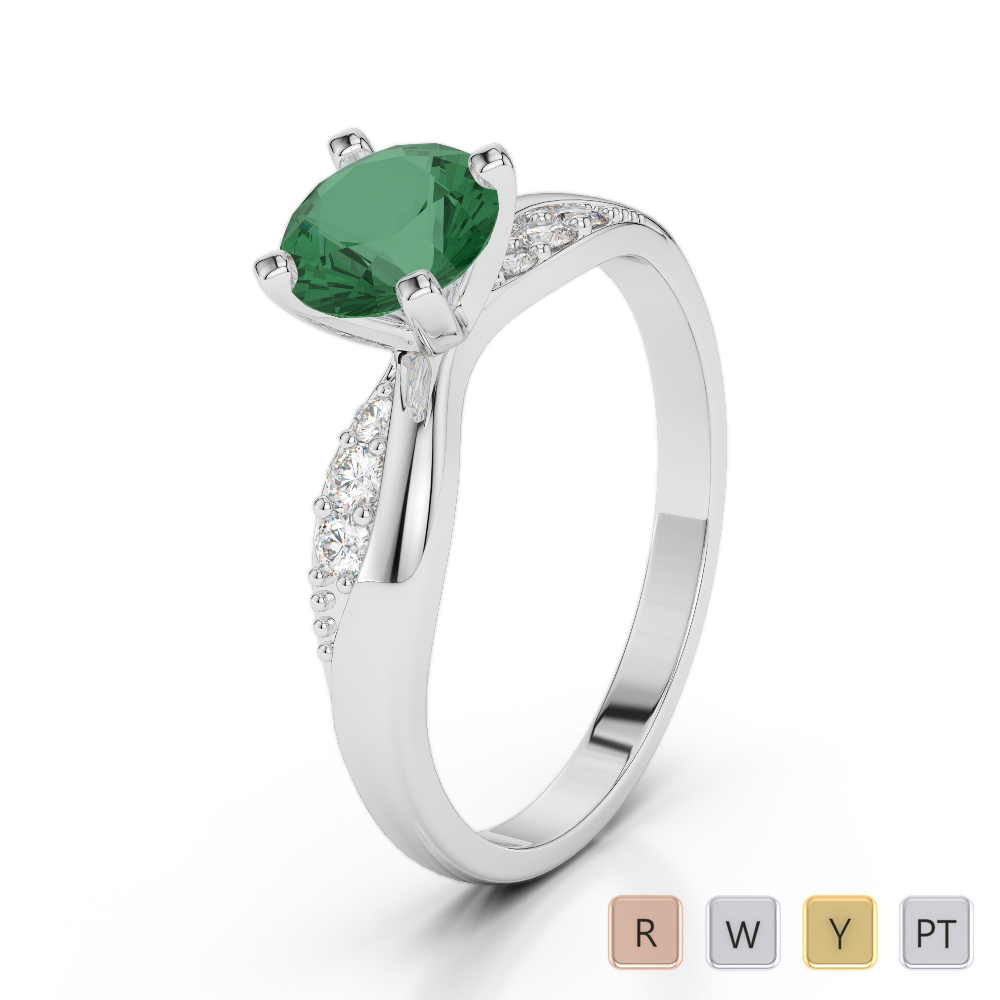 Gold / Platinum Round Cut Emerald and Diamond Engagement Ring AGDR-2024
