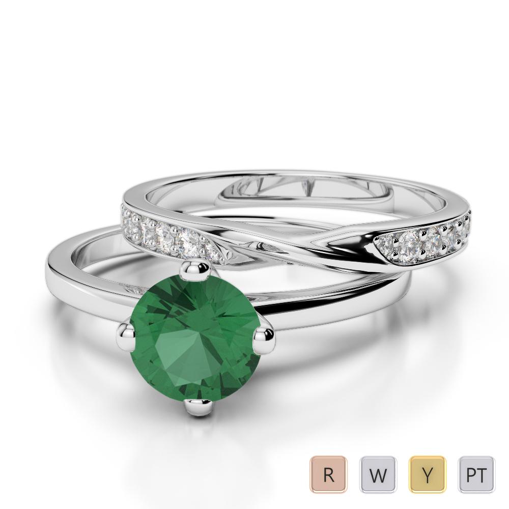 Gold / Platinum Round cut Emerald and Diamond Bridal Set Ring AGDR-2027