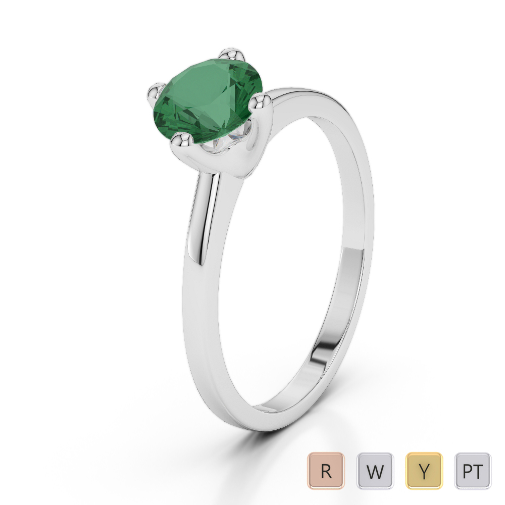 Gold / Platinum Round Cut Emerald Engagement Ring AGDR-2028