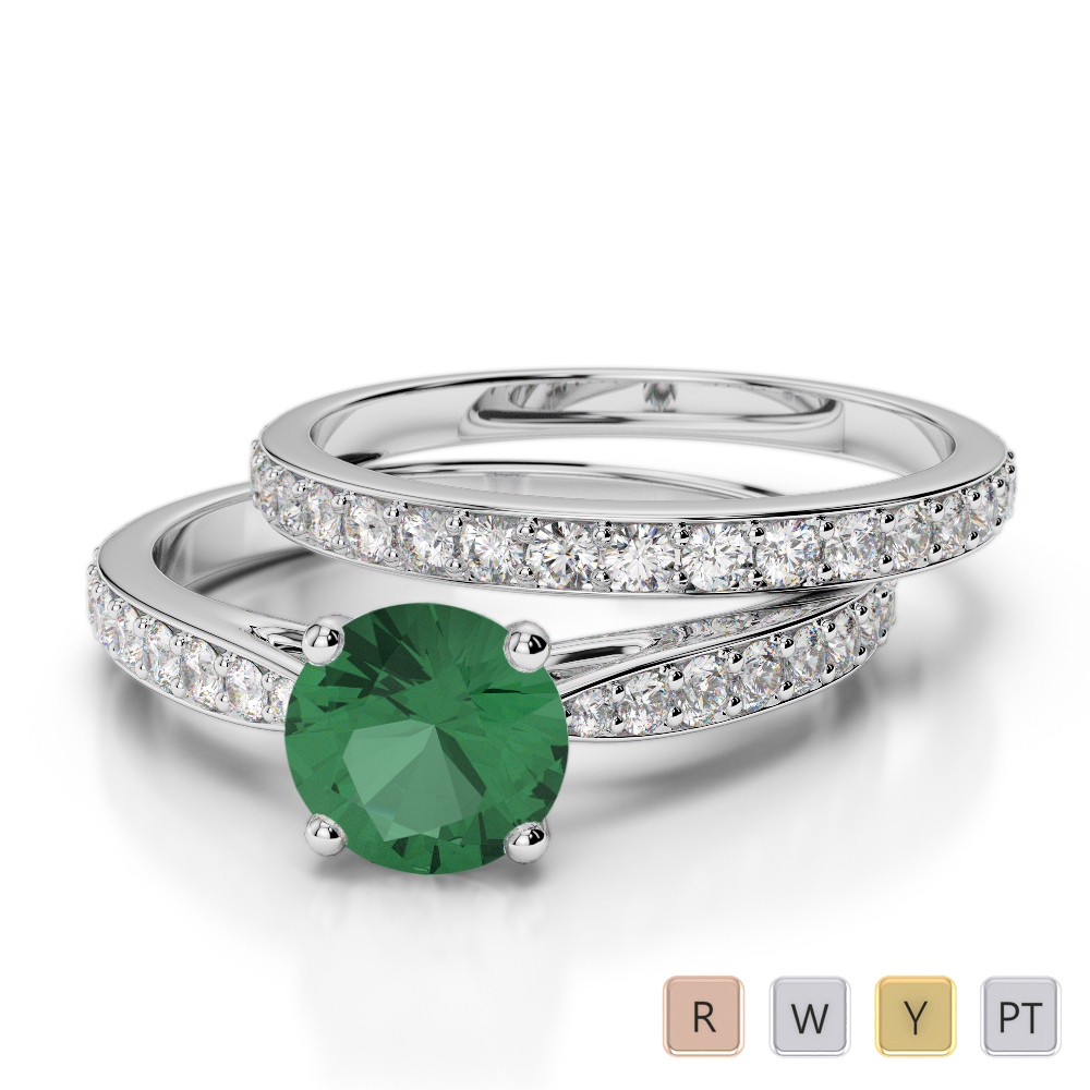 Gold / Platinum Round cut Emerald and Diamond Bridal Set Ring AGDR-2031