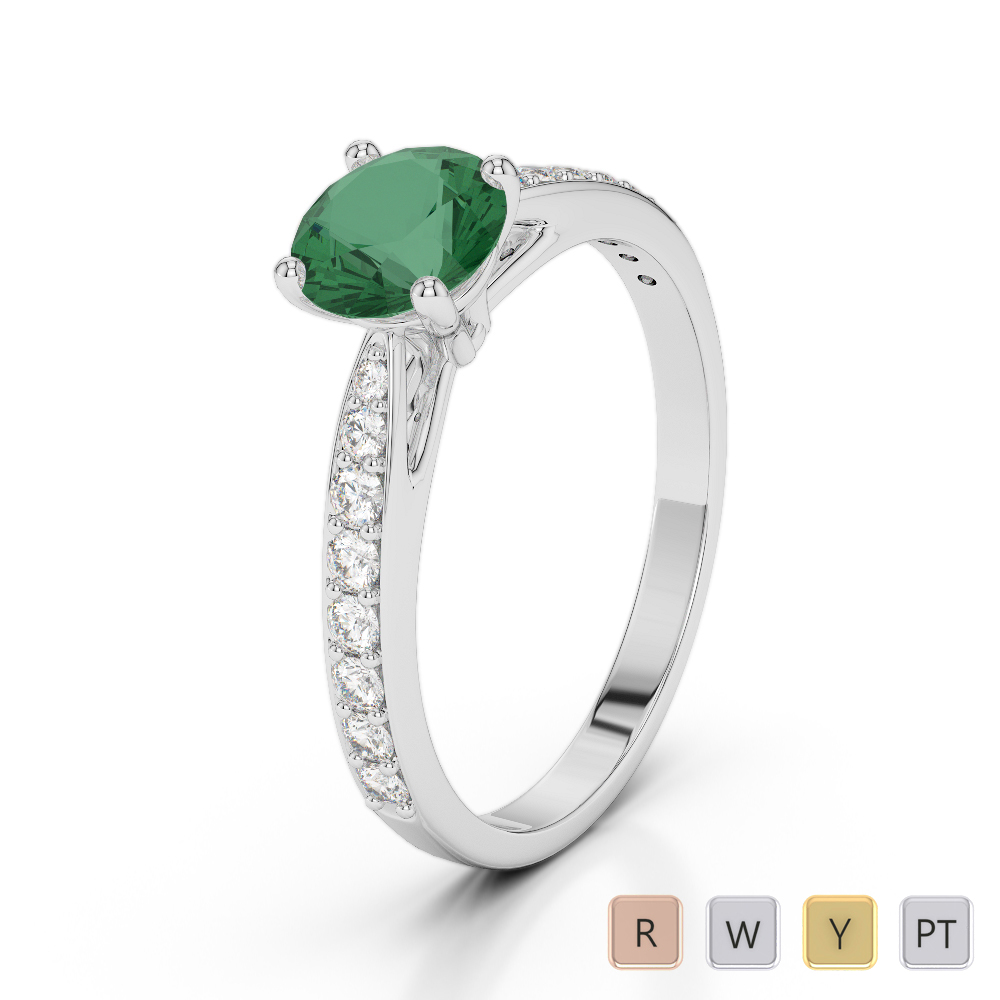 Gold / Platinum Round Cut Emerald and Diamond Engagement Ring AGDR-2032
