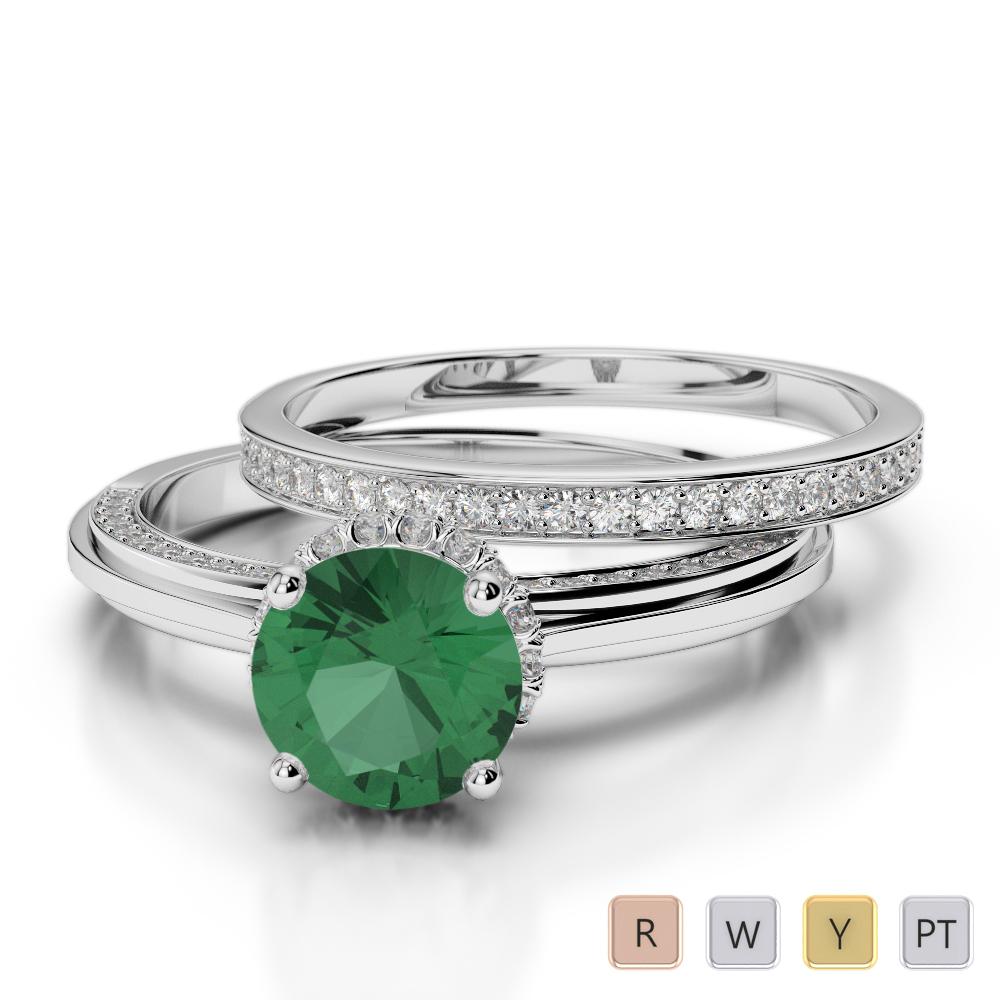 Gold / Platinum Round cut Emerald and Diamond Bridal Set Ring AGDR-2033