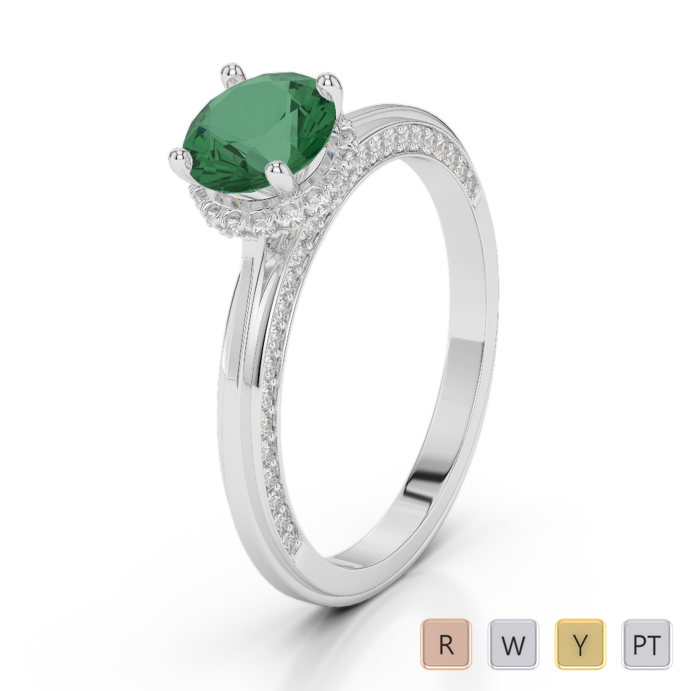 Gold / Platinum Round Cut Emerald and Diamond Engagement Ring AGDR-2034