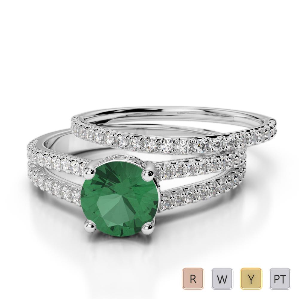 Gold / Platinum Round cut Emerald and Diamond Bridal Set Ring AGDR-2035