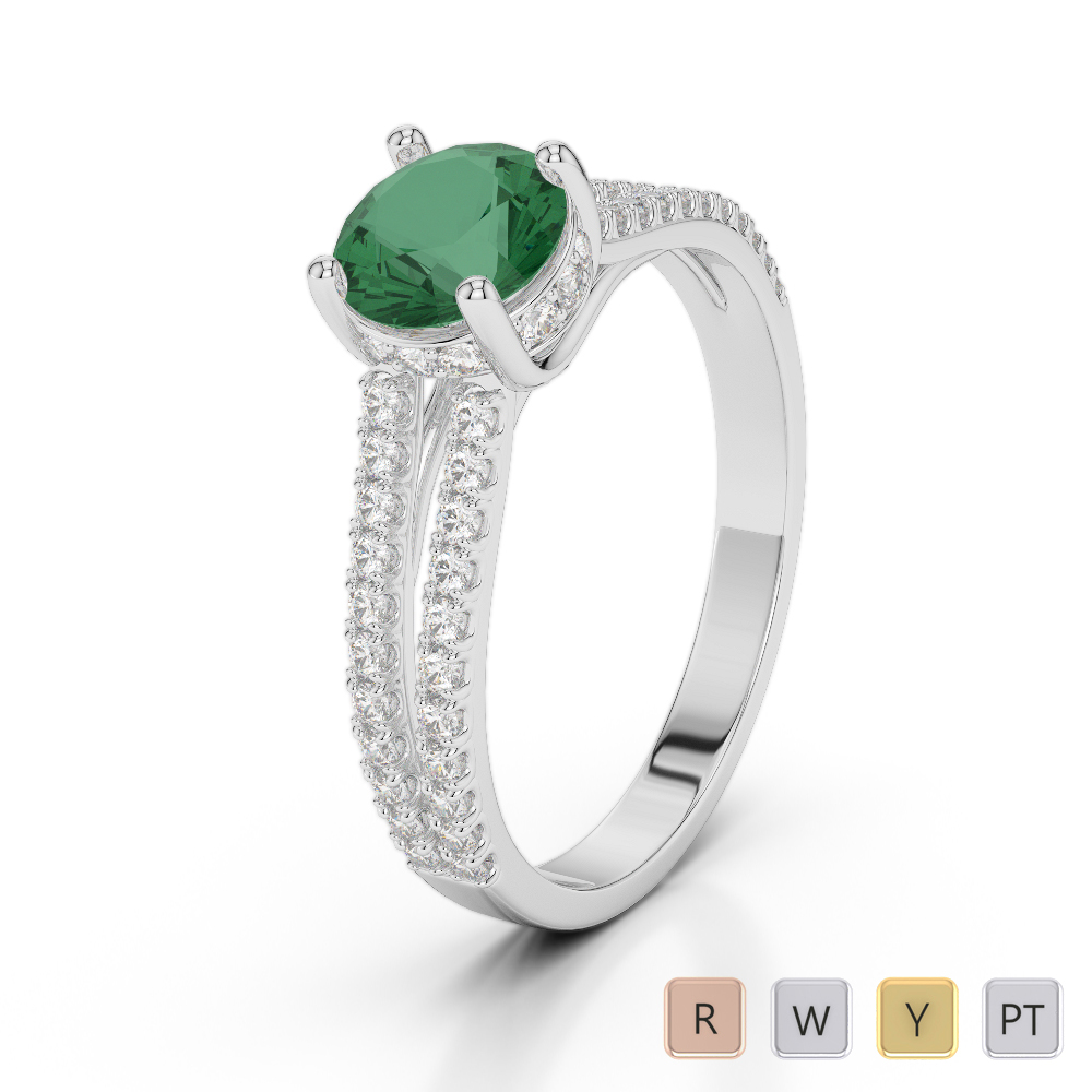 Gold / Platinum Round Cut Emerald and Diamond Engagement Ring AGDR-2036