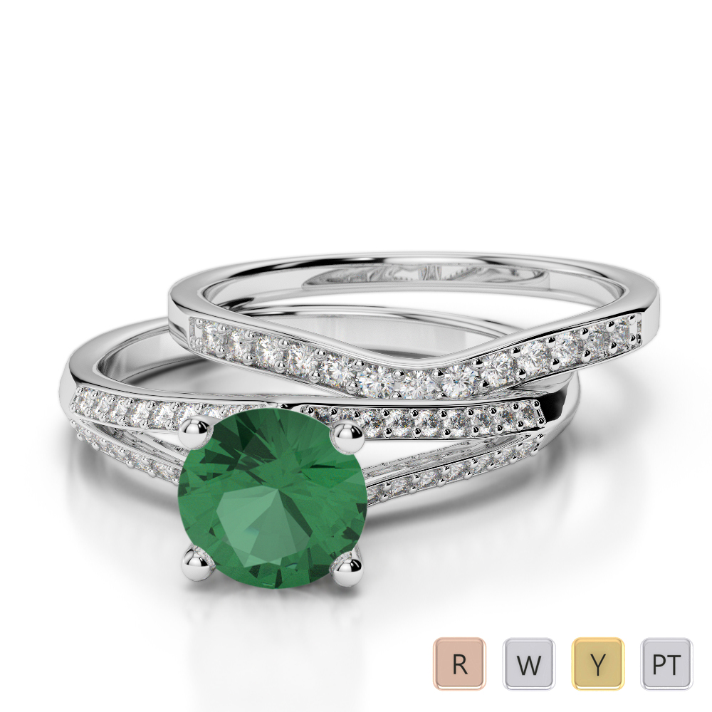 Gold / Platinum Round cut Emerald and Diamond Bridal Set Ring AGDR-2037