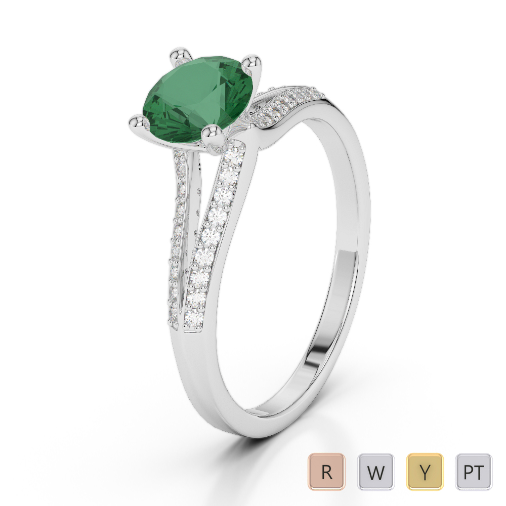 Gold / Platinum Round Cut Emerald and Diamond Engagement Ring AGDR-2038